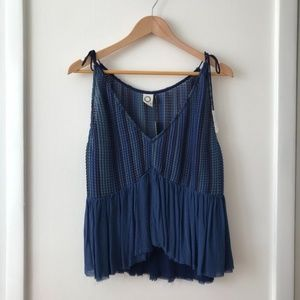 Akemi & Kin Blue Bala Tasseled Cami Top
